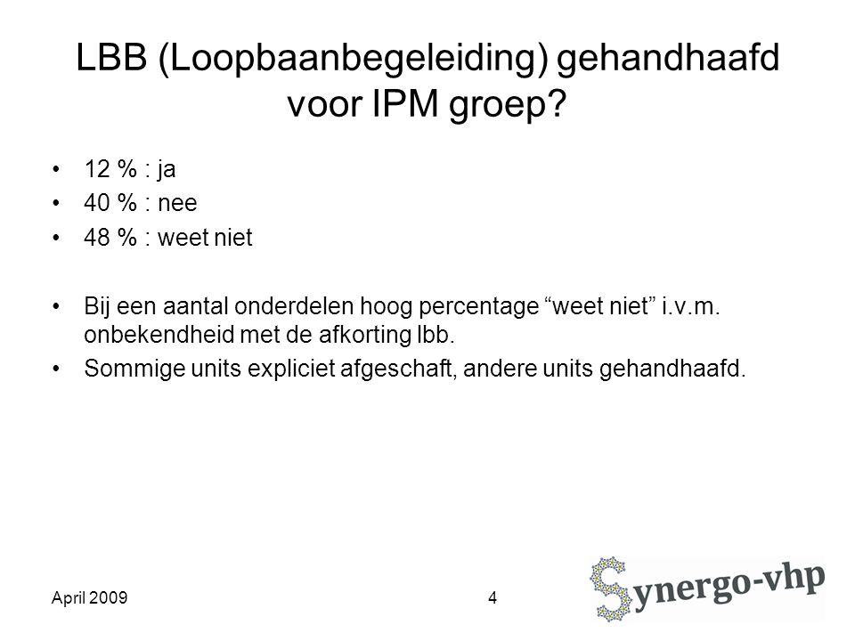April 2009 4 LBB (Loopbaanbegeleiding) gehandhaafd voor IPM groep.
