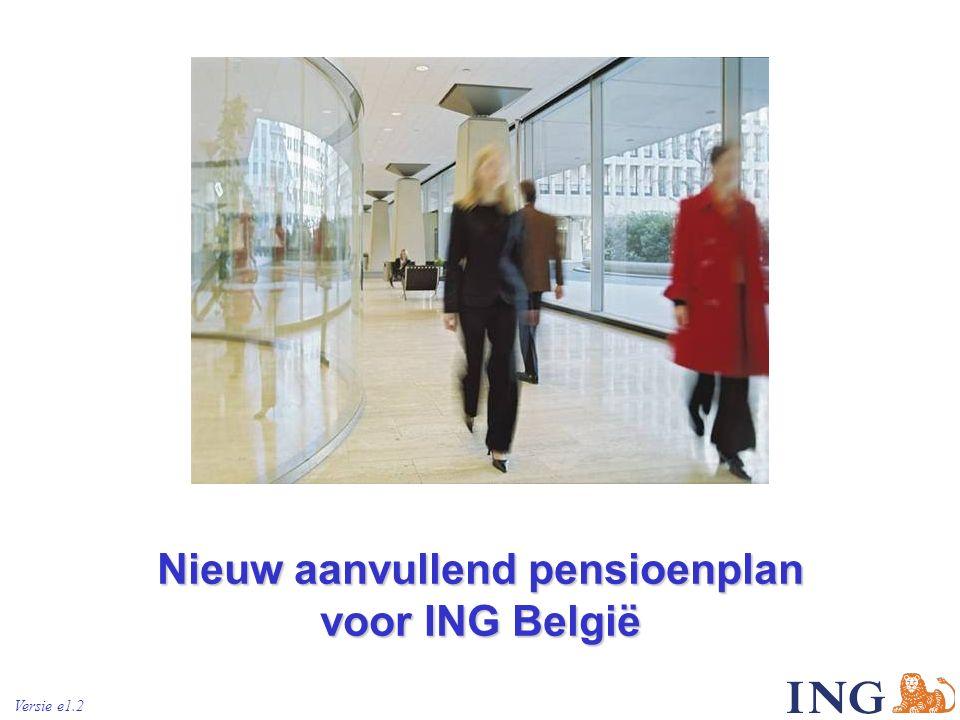 ING Bank Belgium 22 Het nieuwe plan : het aanvullend pensioen Het pensioenkapitaal is functie van – de gestorte netto bijdragen – het verwezenlijkte rendement (van een ING-SICAV) Netto bijdragen = Bijdrage - 4% voor kosten en taxen .