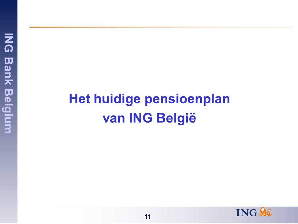 ING Bank Belgium 11 Het huidige pensioenplan van ING België