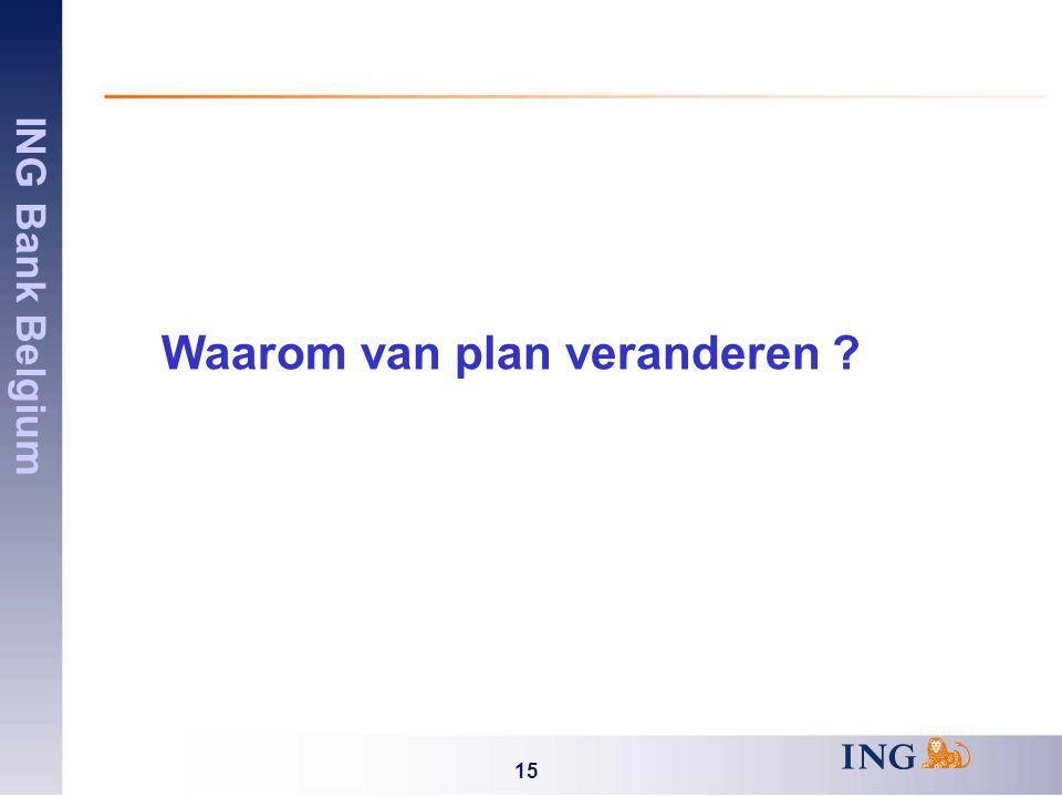 ING Bank Belgium 15 Waarom van plan veranderen