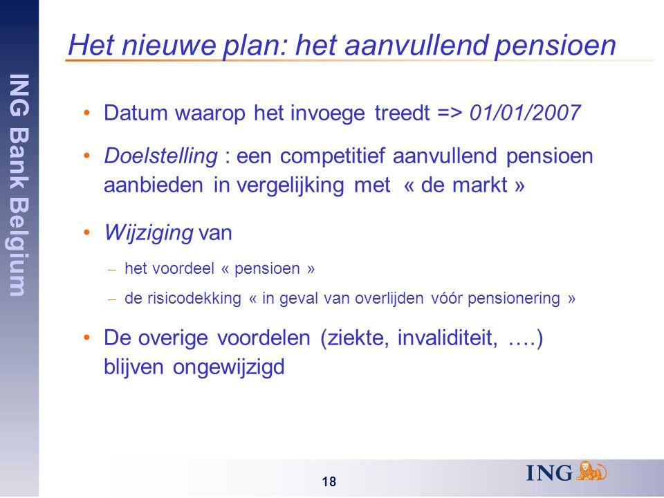 ING Bank Belgium 18 Het nieuwe plan: het aanvullend pensioen Datum waarop het invoege treedt => 01/01/2007 Doelstelling : een competitief aanvullend pensioen aanbieden in vergelijking met « de markt » Wijziging van – het voordeel « pensioen » – de risicodekking « in geval van overlijden vóór pensionering » De overige voordelen (ziekte, invaliditeit, ….) blijven ongewijzigd