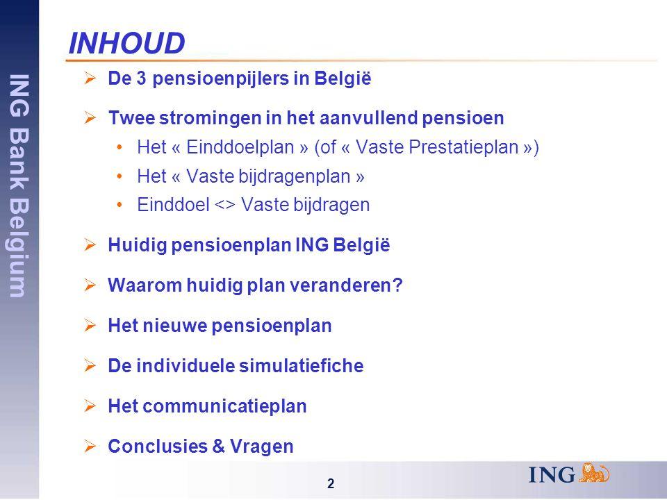 ING Bank Belgium 2 INHOUD  De 3 pensioenpijlers in België  Twee stromingen in het aanvullend pensioen Het « Einddoelplan » (of « Vaste Prestatieplan ») Het « Vaste bijdragenplan » Einddoel <> Vaste bijdragen  Huidig pensioenplan ING België  Waarom huidig plan veranderen.