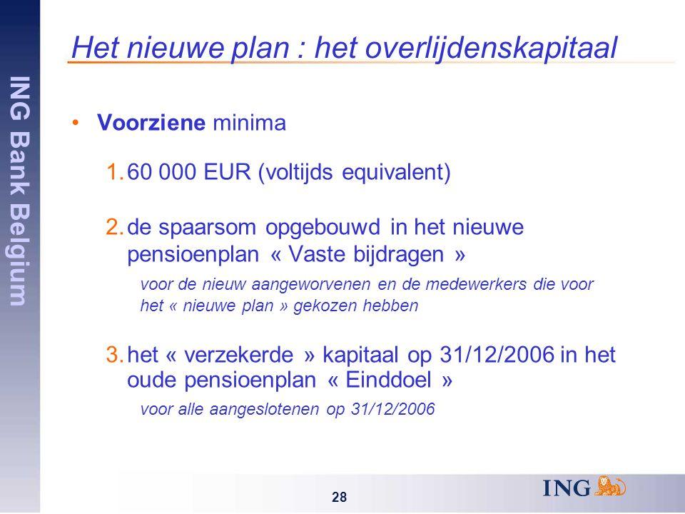 ING Bank Belgium 28 Het nieuwe plan : het overlijdenskapitaal Voorziene minima 1.60 000 EUR (voltijds equivalent) 2.de spaarsom opgebouwd in het nieuwe pensioenplan « Vaste bijdragen » voor de nieuw aangeworvenen en de medewerkers die voor het « nieuwe plan » gekozen hebben 3.het « verzekerde » kapitaal op 31/12/2006 in het oude pensioenplan « Einddoel » voor alle aangeslotenen op 31/12/2006