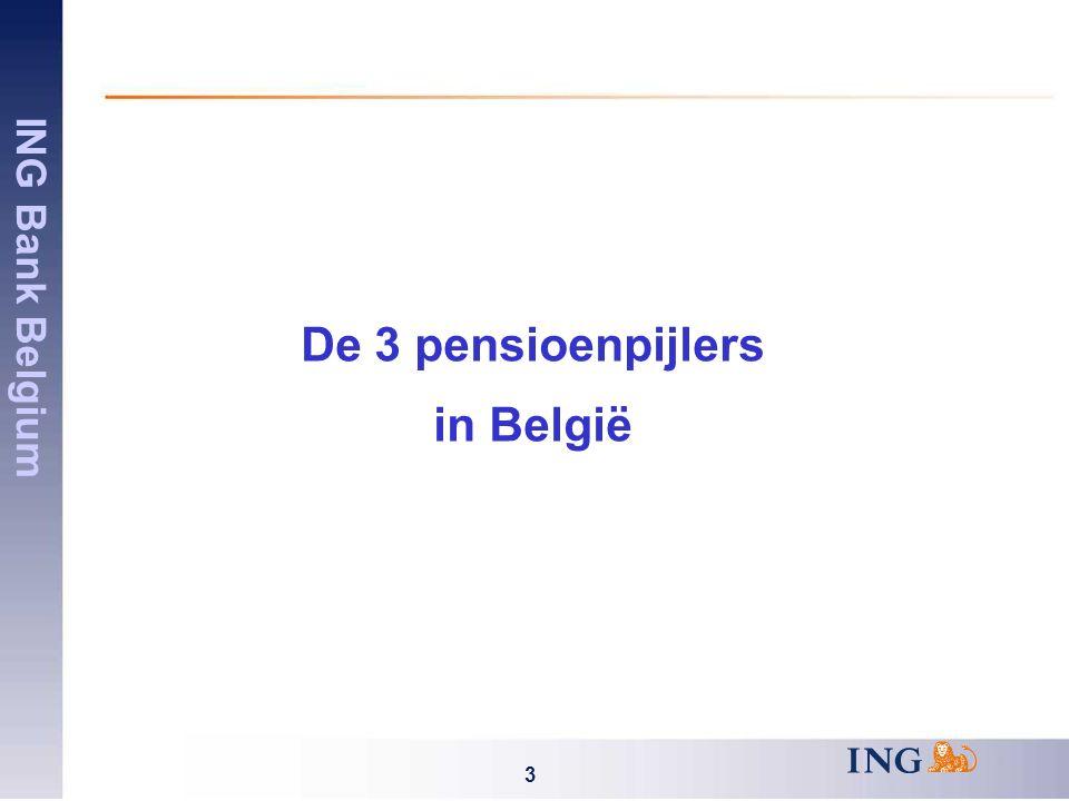 ING Bank Belgium 4 De 3 pensioenpijlers 1 ste pijler Wettelijk pensioen 2 de pijler Bedrijfspensioen 3 de pijler Individueel pensioen Solidariteitssysteem Geplafonneerde uitkering Bijdragen niet beperkt Aanvullend pensioen Overlijdensdekking Ziekte/invaliditeitsdekking Fiscale stimuli ~ Starfund