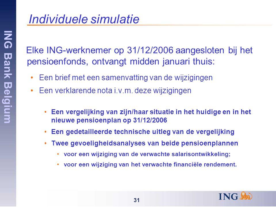 ING Bank Belgium 31 Individuele simulatie Elke ING-werknemer op 31/12/2006 aangesloten bij het pensioenfonds, ontvangt midden januari thuis: Een brief met een samenvatting van de wijzigingen Een verklarende nota i.v.m.