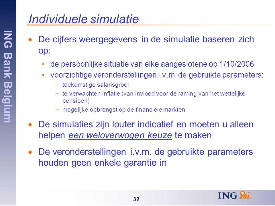 ING Bank Belgium 32 Individuele simulatie  De cijfers weergegevens in de simulatie baseren zich op: de persoonlijke situatie van elke aangeslotene op 1/10/2006 voorzichtige veronderstellingen i.v.m.