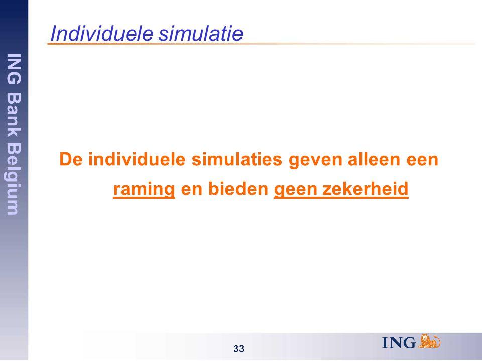 ING Bank Belgium 33 Individuele simulatie De individuele simulaties geven alleen een raming en bieden geen zekerheid