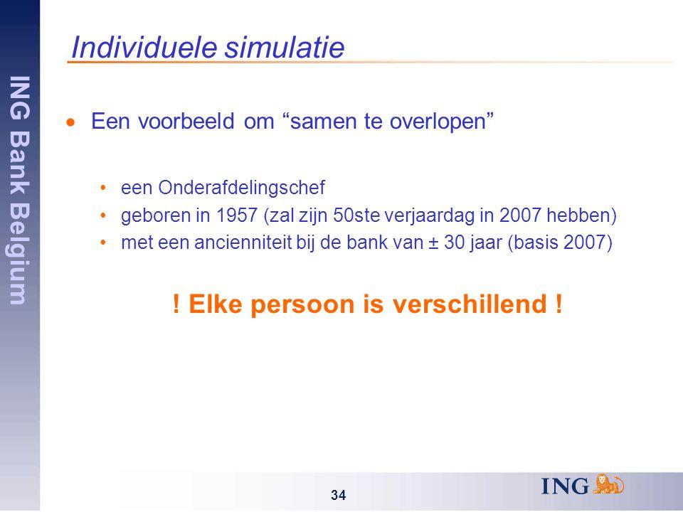 ING Bank Belgium 34 Individuele simulatie  Een voorbeeld om samen te overlopen een Onderafdelingschef geboren in 1957 (zal zijn 50ste verjaardag in 2007 hebben) met een ancienniteit bij de bank van ± 30 jaar (basis 2007) .
