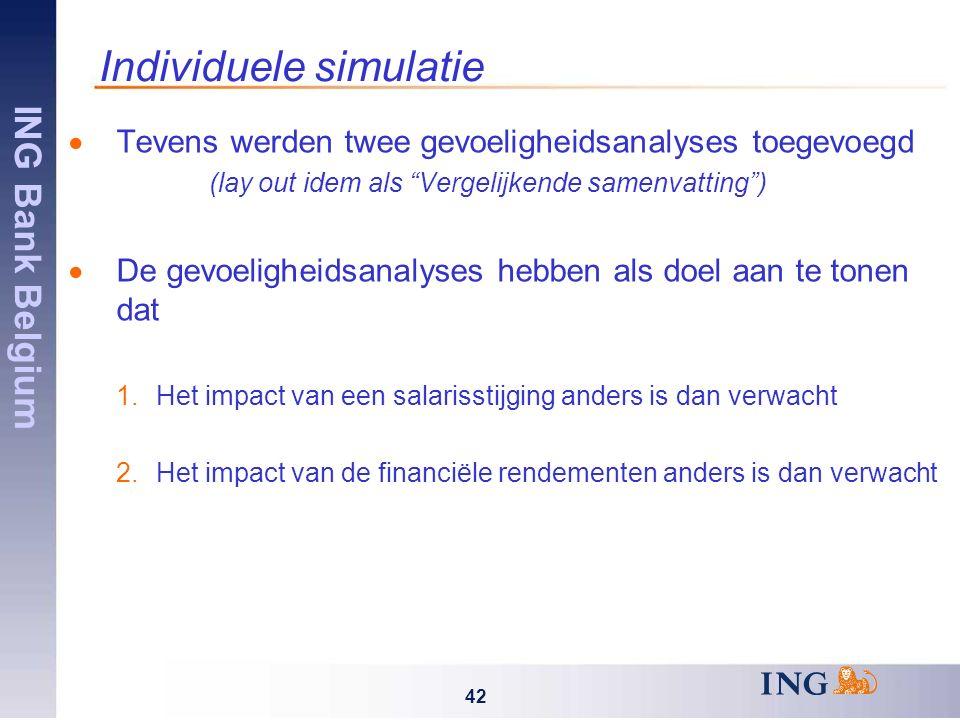 ING Bank Belgium 42 Individuele simulatie  Tevens werden twee gevoeligheidsanalyses toegevoegd (lay out idem als Vergelijkende samenvatting )  De gevoeligheidsanalyses hebben als doel aan te tonen dat 1.Het impact van een salarisstijging anders is dan verwacht 2.Het impact van de financiële rendementen anders is dan verwacht