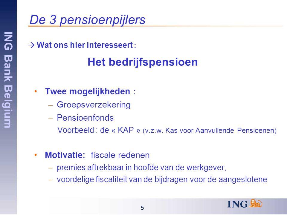 ING Bank Belgium 5 De 3 pensioenpijlers  Wat ons hier interesseert : Het bedrijfspensioen Twee mogelijkheden : – Groepsverzekering – Pensioenfonds Voorbeeld : de « KAP » (v.z.w.