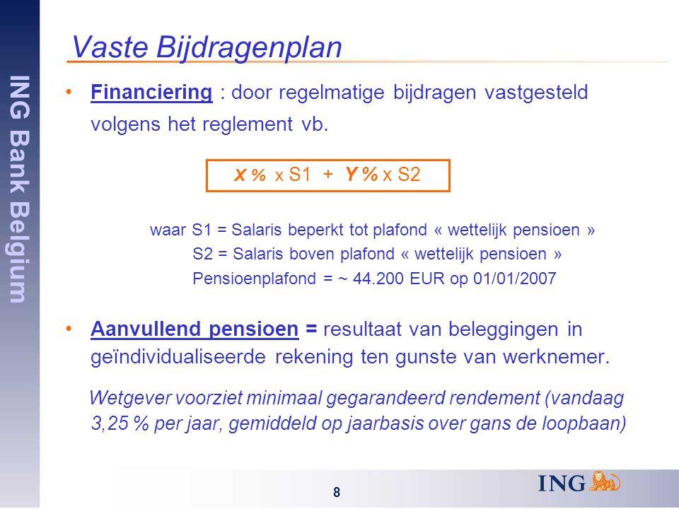 ING Bank Belgium 49 Conclusies Complexe materie Individuele simulaties zijn gebaseerd op aantal hypotheses (geen garantie behalve huidige 3,25%) De belangrijkste parameters zijn : De verwachte salarisaangroei Het toekomstige rendement van de SICAV De evolutie van de inflatie De persoonlijke carrièreplanning (mobiliteit binnen of buiten de Groep) Te nemen beslissing: uit twee goede pensioenplannen voor u het beste kiezen