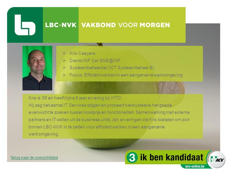  Kris Caeyers  Dienst INF Cel SNB@INF  Systeembeheerder (ICT Systeembeheer B)  Focus: Efficiënt werken in een aangename werkomgeving Kris is 39 en