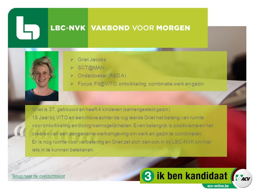  Griet Jacobs  SCT@MAN  Onderzoeker (R&D A)  Focus: Fit@VITO, ontwikkeling, combinatie werk en gezin Griet is 37, getrouwd en heeft 4 kinderen (sa