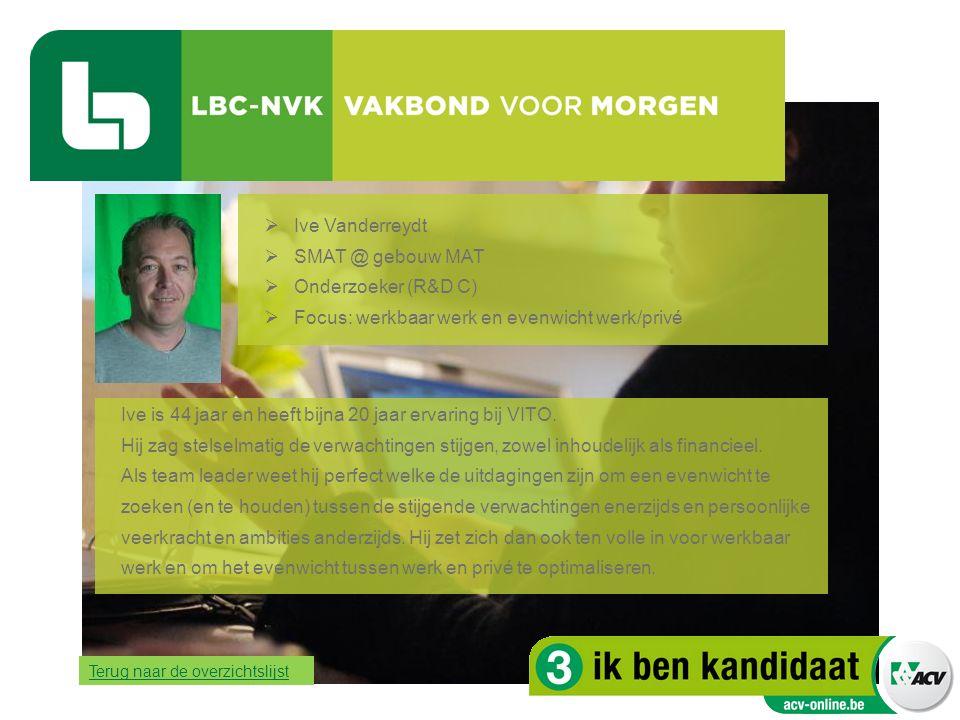  Ive Vanderreydt  SMAT @ gebouw MAT  Onderzoeker (R&D C)  Focus: werkbaar werk en evenwicht werk/privé Ive is 44 jaar en heeft bijna 20 jaar ervar