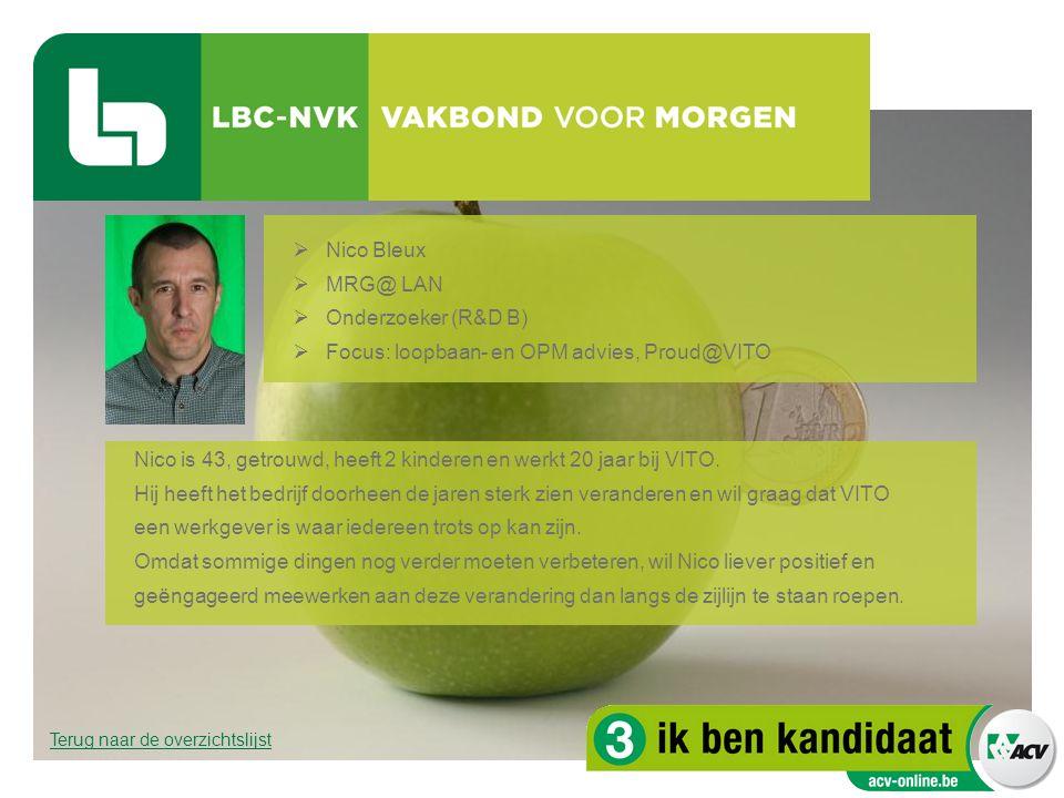  Nico Bleux  MRG@ LAN  Onderzoeker (R&D B)  Focus: loopbaan- en OPM advies, Proud@VITO Nico is 43, getrouwd, heeft 2 kinderen en werkt 20 jaar bij