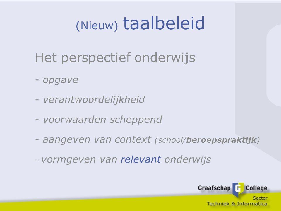 (Nieuw) taalbeleid Het perspectief onderwijs - opgave - verantwoordelijkheid - voorwaarden scheppend - aangeven van context (school/beroepspraktijk) -