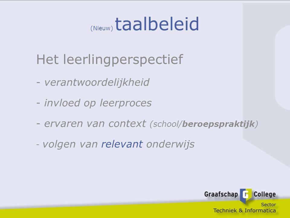 (Nieuw) taalbeleid Het leerlingperspectief - verantwoordelijkheid - invloed op leerproces - ervaren van context (school/beroepspraktijk) - volgen van