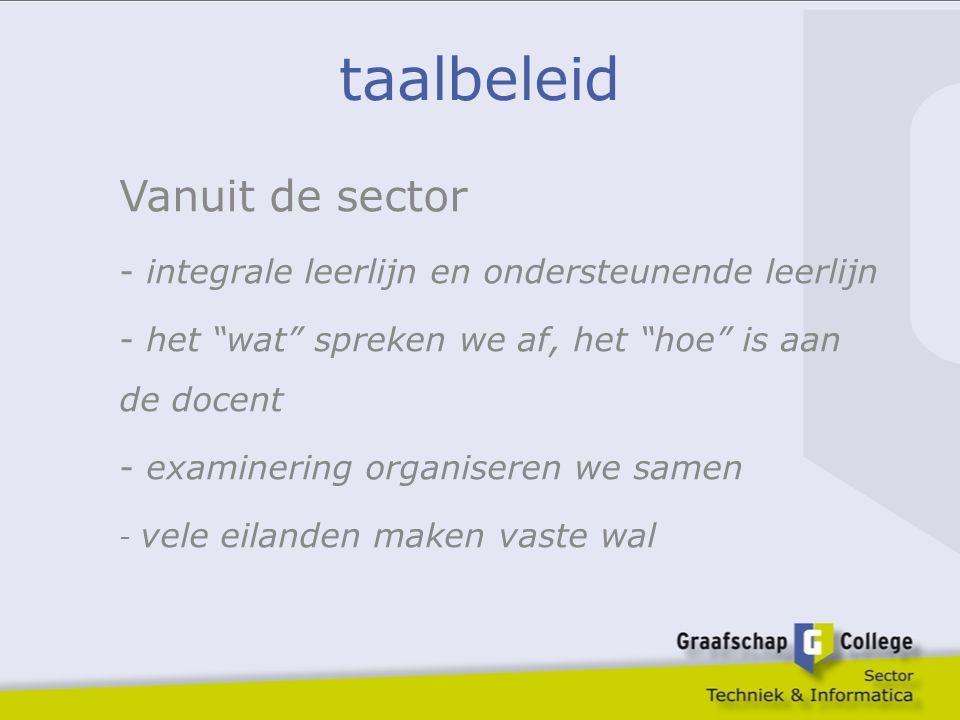 """taalbeleid Vanuit de sector - integrale leerlijn en ondersteunende leerlijn - het """"wat"""" spreken we af, het """"hoe"""" is aan de docent - examinering organi"""