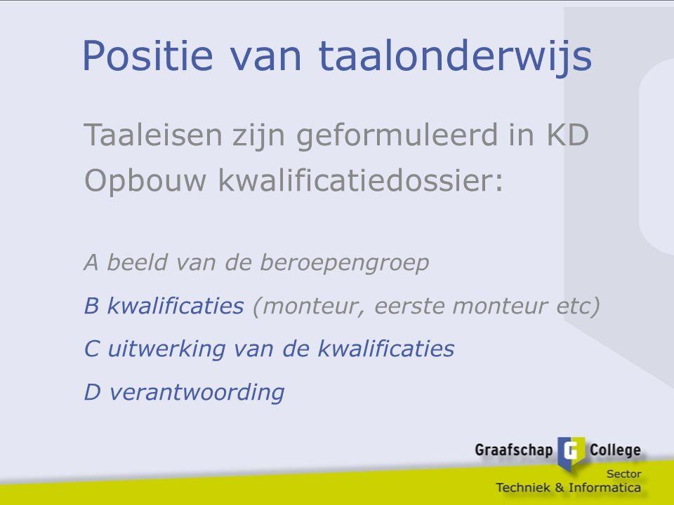 Positie van taalonderwijs Taaleisen zijn geformuleerd in KD Opbouw kwalificatiedossier: A beeld van de beroepengroep B kwalificaties (monteur, eerste