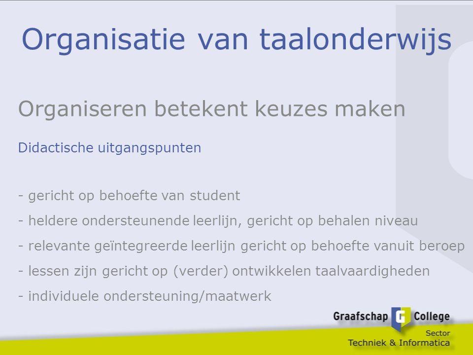 Organisatie van taalonderwijs Organiseren betekent keuzes maken Didactische uitgangspunten - gericht op behoefte van student - heldere ondersteunende