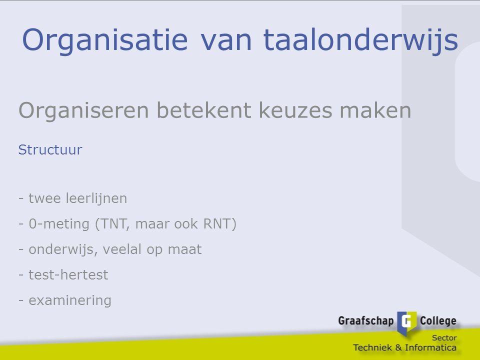 Organisatie van taalonderwijs Organiseren betekent keuzes maken Structuur - twee leerlijnen - 0-meting (TNT, maar ook RNT) - onderwijs, veelal op maat
