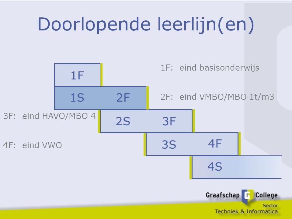 Doorlopende leerlijn(en) 1F 1S2F 2S 3F 3S 4F 4S 1F: eind basisonderwijs 2F: eind VMBO/MBO 1t/m3 3F: eind HAVO/MBO 4 4F: eind VWO
