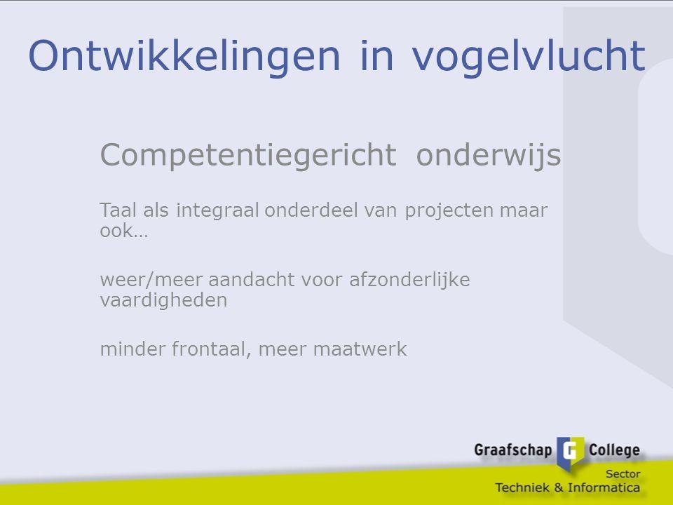 Ontwikkelingen in vogelvlucht Competentiegericht onderwijs Taal als integraal onderdeel van projecten maar ook… weer/meer aandacht voor afzonderlijke