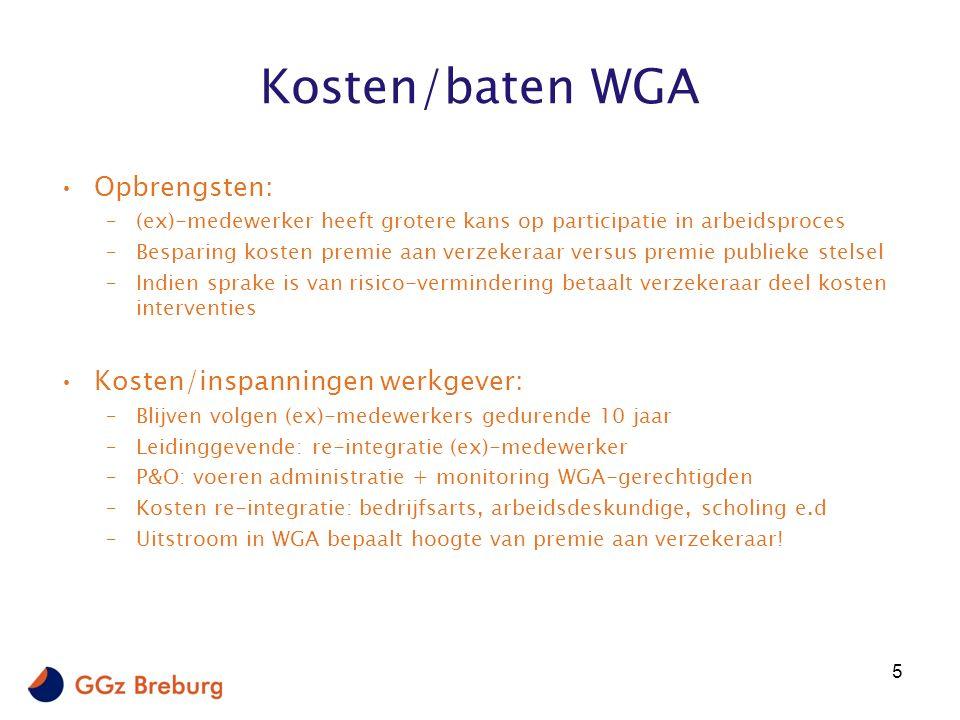 Kosten/baten WGA Opbrengsten: –(ex)-medewerker heeft grotere kans op participatie in arbeidsproces –Besparing kosten premie aan verzekeraar versus premie publieke stelsel –Indien sprake is van risico-vermindering betaalt verzekeraar deel kosten interventies Kosten/inspanningen werkgever: –Blijven volgen (ex)-medewerkers gedurende 10 jaar –Leidinggevende: re-integratie (ex)-medewerker –P&O: voeren administratie + monitoring WGA-gerechtigden –Kosten re-integratie: bedrijfsarts, arbeidsdeskundige, scholing e.d –Uitstroom in WGA bepaalt hoogte van premie aan verzekeraar.