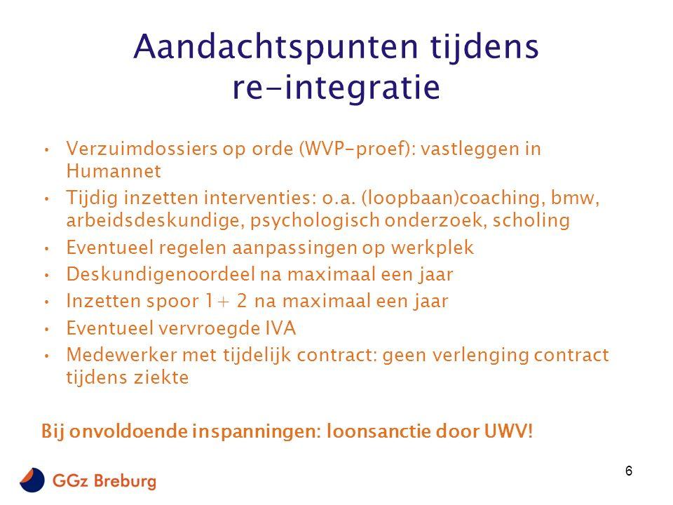 Aandachtspunten tijdens re-integratie Verzuimdossiers op orde (WVP-proef): vastleggen in Humannet Tijdig inzetten interventies: o.a.