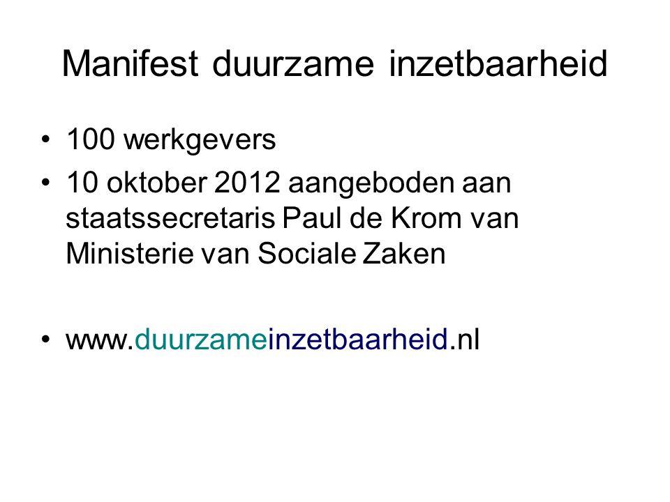 Manifest duurzame inzetbaarheid 100 werkgevers 10 oktober 2012 aangeboden aan staatssecretaris Paul de Krom van Ministerie van Sociale Zaken www.duurzameinzetbaarheid.nl