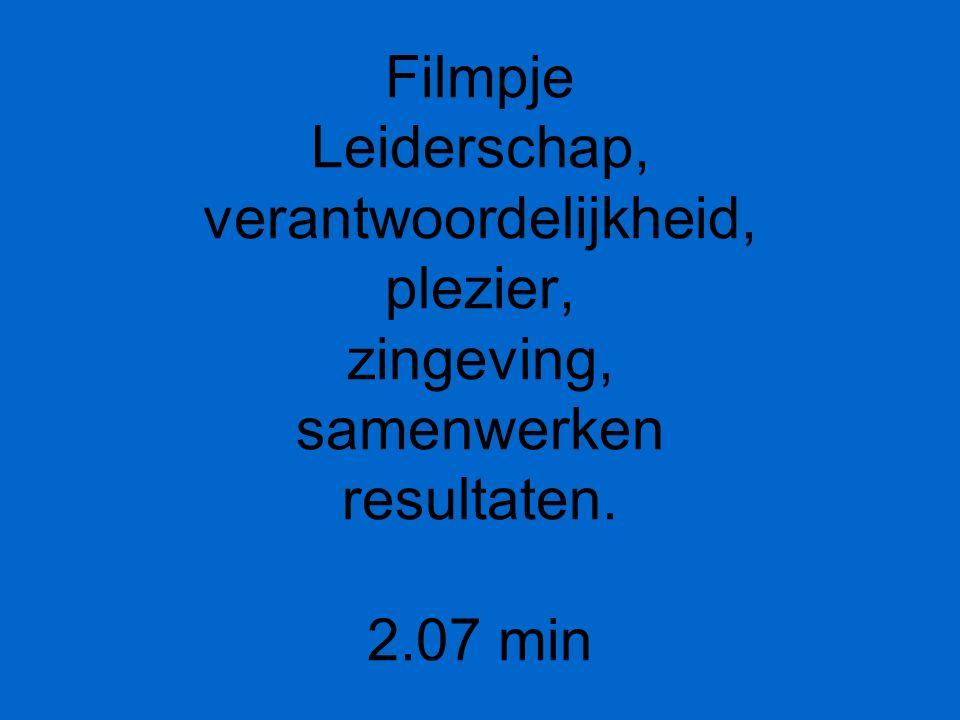 Filmpje Leiderschap, verantwoordelijkheid, plezier, zingeving, samenwerken resultaten. 2.07 min