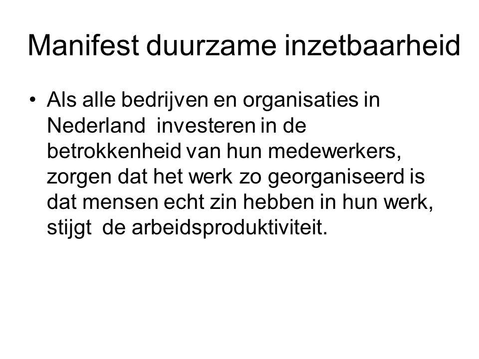 Manifest duurzame inzetbaarheid Als alle bedrijven en organisaties in Nederland investeren in de betrokkenheid van hun medewerkers, zorgen dat het werk zo georganiseerd is dat mensen echt zin hebben in hun werk, stijgt de arbeidsproduktiviteit.