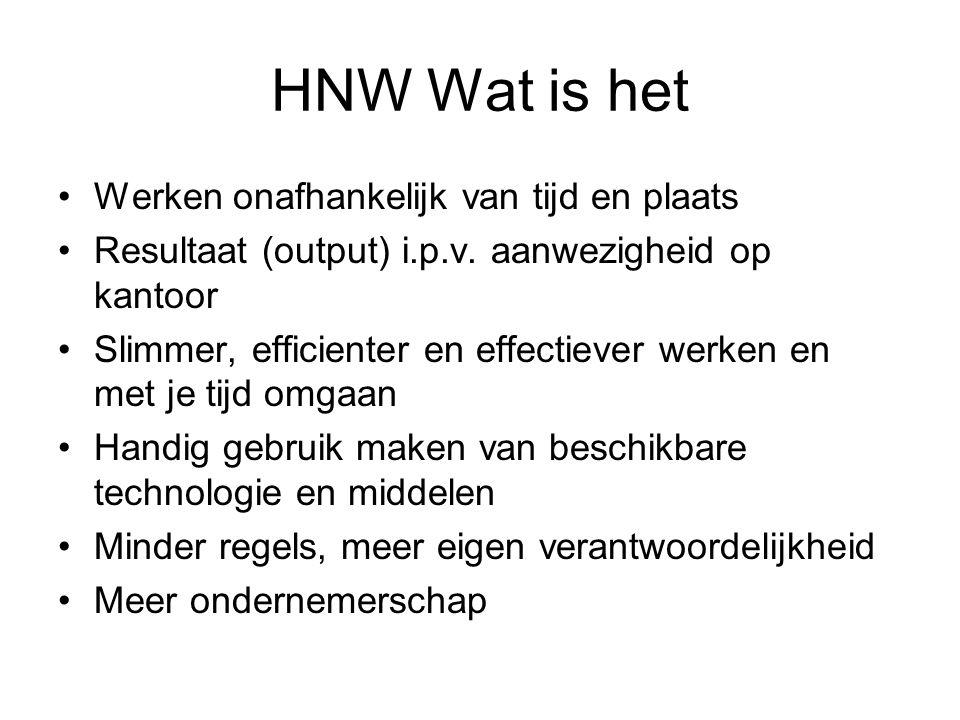 HNW Wat is het Werken onafhankelijk van tijd en plaats Resultaat (output) i.p.v. aanwezigheid op kantoor Slimmer, efficienter en effectiever werken en