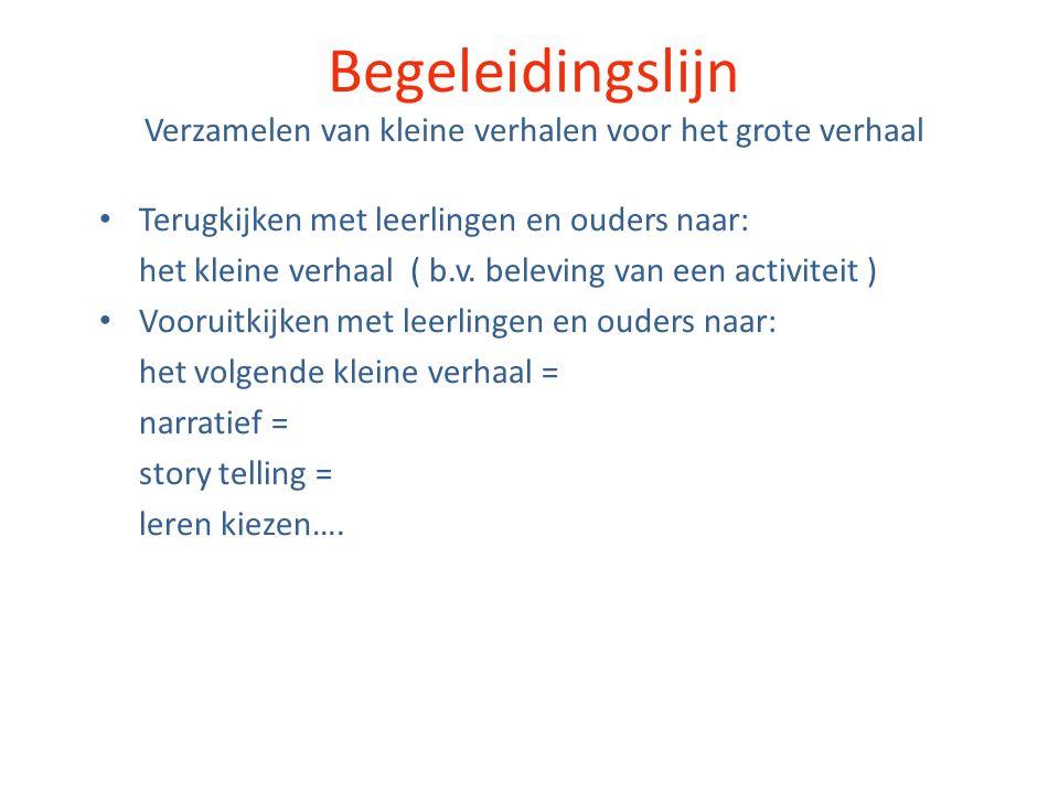 Begeleidingslijn Verzamelen van kleine verhalen voor het grote verhaal Terugkijken met leerlingen en ouders naar: het kleine verhaal ( b.v.