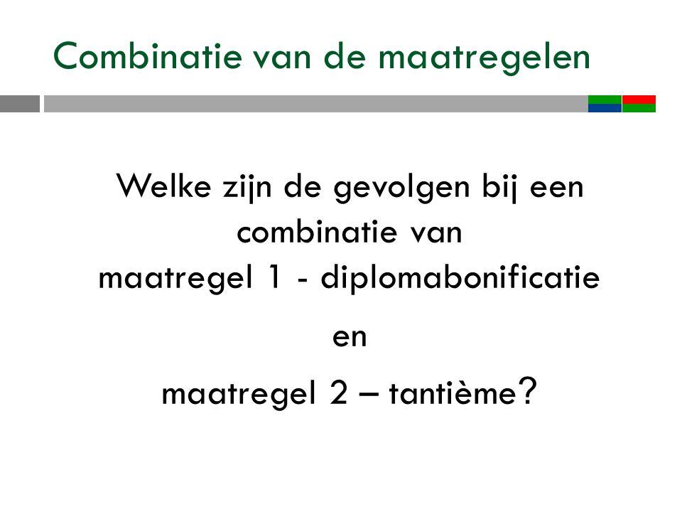 Combinatie van de maatregelen Welke zijn de gevolgen bij een combinatie van maatregel 1 - diplomabonificatie en maatregel 2 – tantième