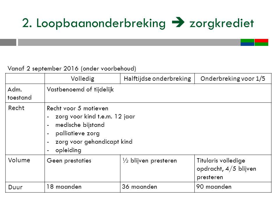 2. Loopbaanonderbreking  zorgkrediet Vanaf 2 september 2016 (onder voorbehoud) VolledigHalftijdse onderbrekingOnderbreking voor 1/5 Adm. toestand Vas
