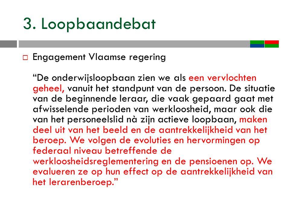 """3. Loopbaandebat  Engagement Vlaamse regering """"De onderwijsloopbaan zien we als een vervlochten geheel, vanuit het standpunt van de persoon. De situa"""