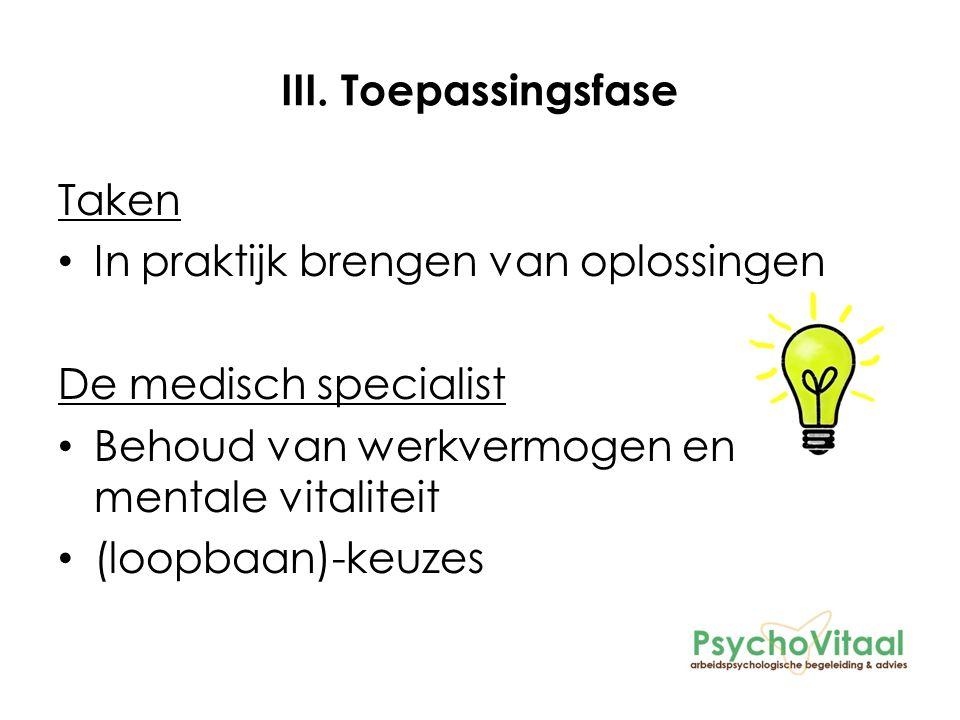 III. Toepassingsfase Taken In praktijk brengen van oplossingen De medisch specialist Behoud van werkvermogen en mentale vitaliteit (loopbaan)-keuzes