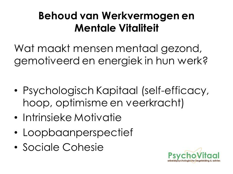 Behoud van Werkvermogen en Mentale Vitaliteit Wat maakt mensen mentaal gezond, gemotiveerd en energiek in hun werk.