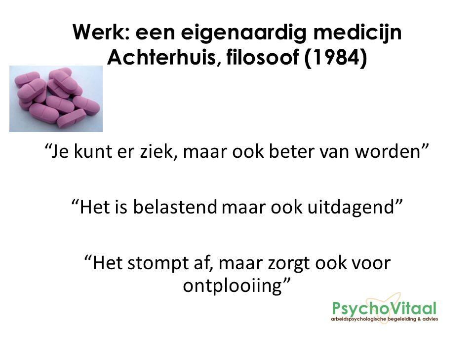 Werk: een eigenaardig medicijn Achterhuis, filosoof (1984) Je kunt er ziek, maar ook beter van worden Het is belastend maar ook uitdagend Het stompt af, maar zorgt ook voor ontplooiing