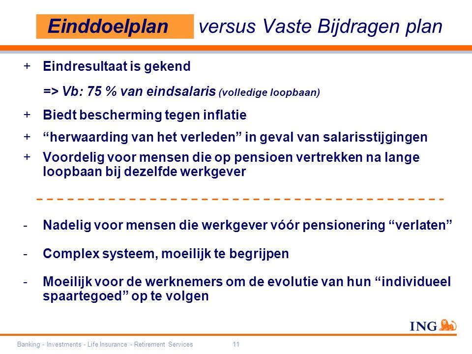 Banking - Investments - Life Insurance - Retirement Services11 Einddoelplan versus Vaste Bijdragen plan +Eindresultaat is gekend => Vb: 75 % van einds