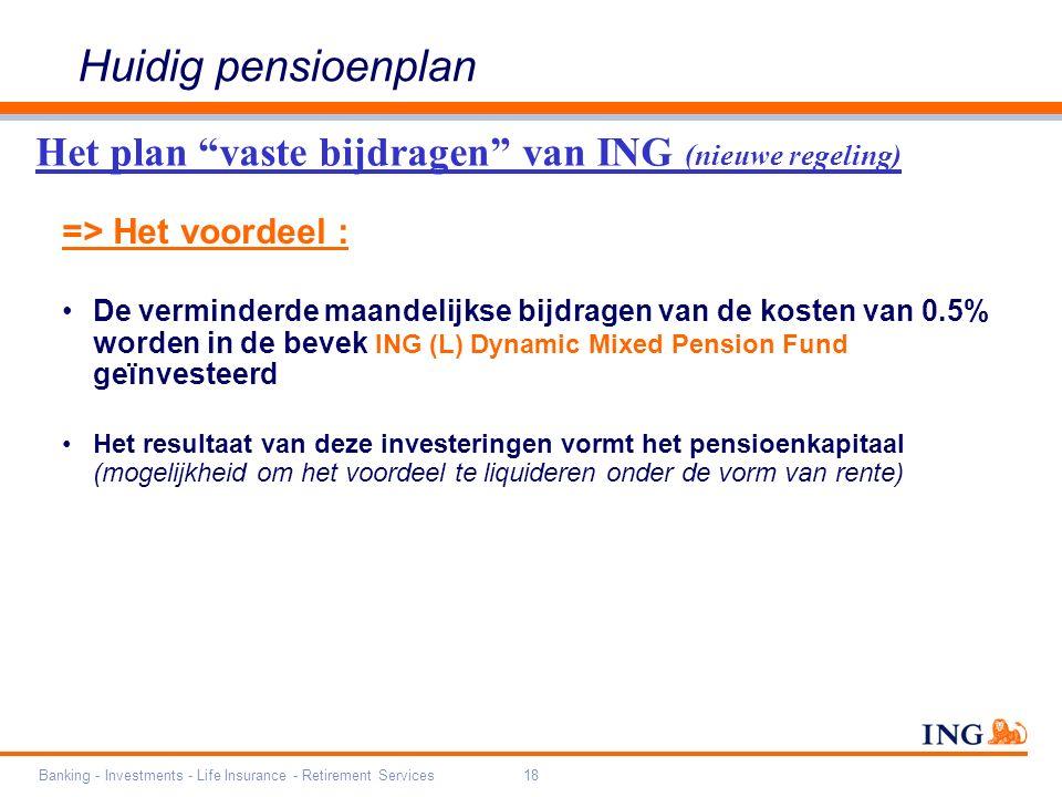 Banking - Investments - Life Insurance - Retirement Services18 => Het voordeel : De verminderde maandelijkse bijdragen van de kosten van 0.5% worden in de bevek ING (L) Dynamic Mixed Pension Fund geïnvesteerd Het resultaat van deze investeringen vormt het pensioenkapitaal (mogelijkheid om het voordeel te liquideren onder de vorm van rente) Het plan vaste bijdragen van ING (nieuwe regeling) Huidig pensioenplan