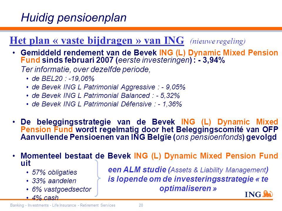 Banking - Investments - Life Insurance - Retirement Services20 Gemiddeld rendement van de Bevek ING (L) Dynamic Mixed Pension Fund sinds februari 2007 (eerste investeringen) : - 3,94% Ter informatie, over dezelfde periode, de BEL20 : -19,06% de Bevek ING L Patrimonial Aggressive : - 9,05% de Bevek ING L Patrimonial Balanced : - 5,32% de Bevek ING L Patrimonial Défensive : - 1,36% De beleggingsstrategie van de Bevek ING (L) Dynamic Mixed Pension Fund wordt regelmatig door het Beleggingscomité van OFP Aanvullende Pensioenen van ING Belgïe (ons pensioenfonds) gevolgd Momenteel bestaat de Bevek ING (L) Dynamic Mixed Pension Fund uit 57% obligaties 33% aandelen 6% vastgoedsector 4% cash Het plan « vaste bijdragen » van ING (nieuwe regeling) Huidig pensioenplan een ALM studie ( Assets & Liability Management ) is lopende om de investeringsstrategie « te optimaliseren »