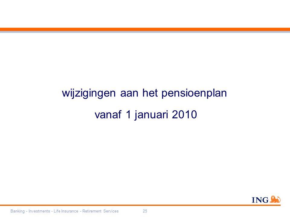 Banking - Investments - Life Insurance - Retirement Services25 wijzigingen aan het pensioenplan vanaf 1 januari 2010