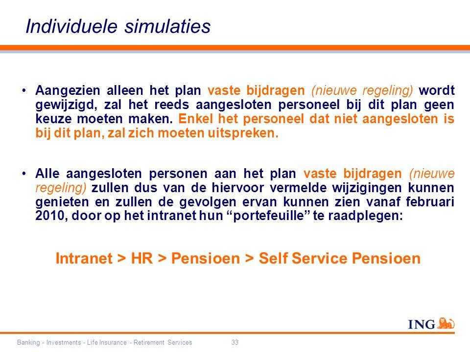 Banking - Investments - Life Insurance - Retirement Services33 Individuele simulaties Aangezien alleen het plan vaste bijdragen (nieuwe regeling) wordt gewijzigd, zal het reeds aangesloten personeel bij dit plan geen keuze moeten maken.