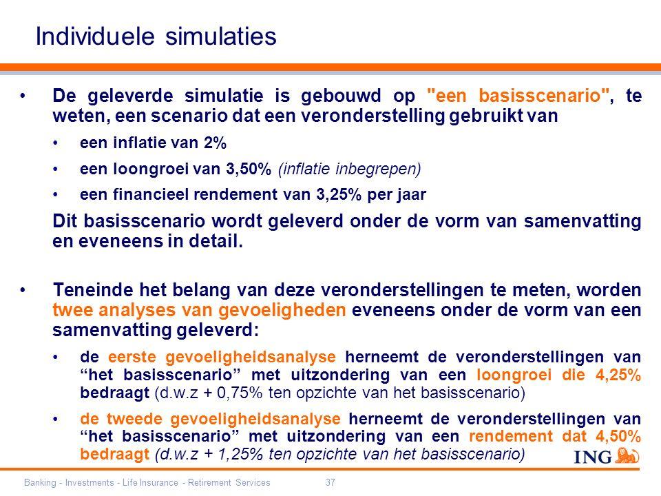 Banking - Investments - Life Insurance - Retirement Services37 Individuele simulaties De geleverde simulatie is gebouwd op een basisscenario , te weten, een scenario dat een veronderstelling gebruikt van een inflatie van 2% een loongroei van 3,50% (inflatie inbegrepen) een financieel rendement van 3,25% per jaar Dit basisscenario wordt geleverd onder de vorm van samenvatting en eveneens in detail.