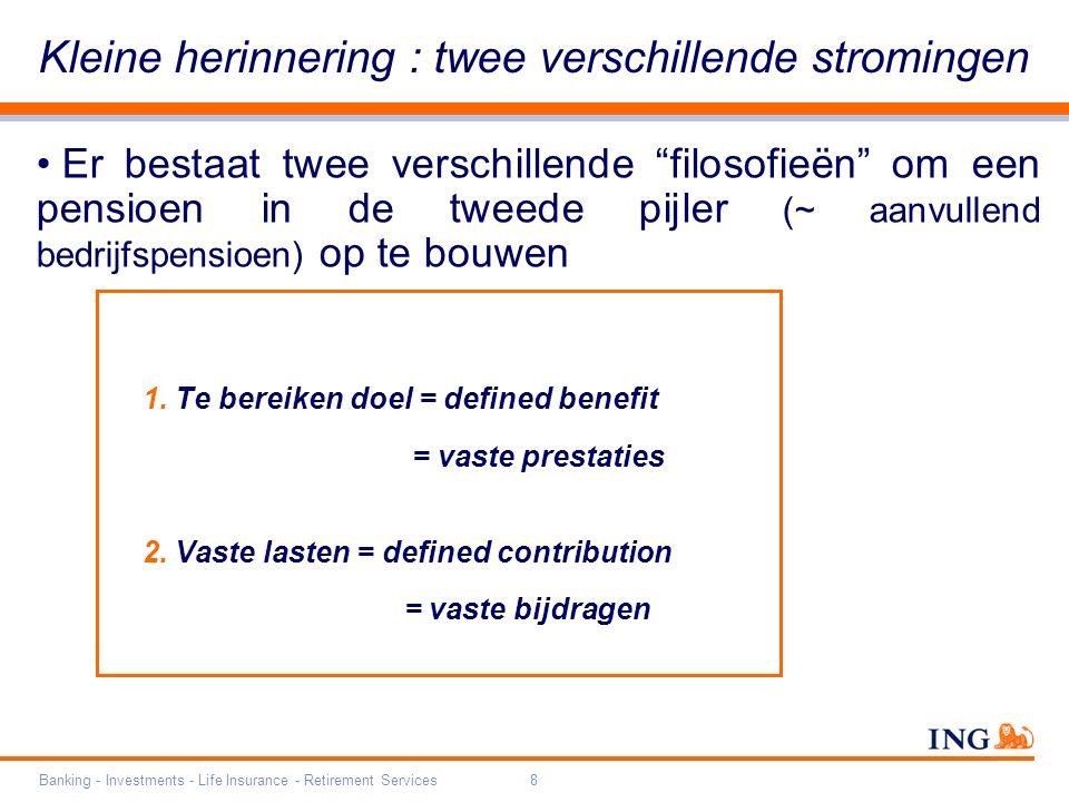 """Banking - Investments - Life Insurance - Retirement Services8 Er bestaat twee verschillende """"filosofieën"""" om een pensioen in de tweede pijler (~ aanvu"""