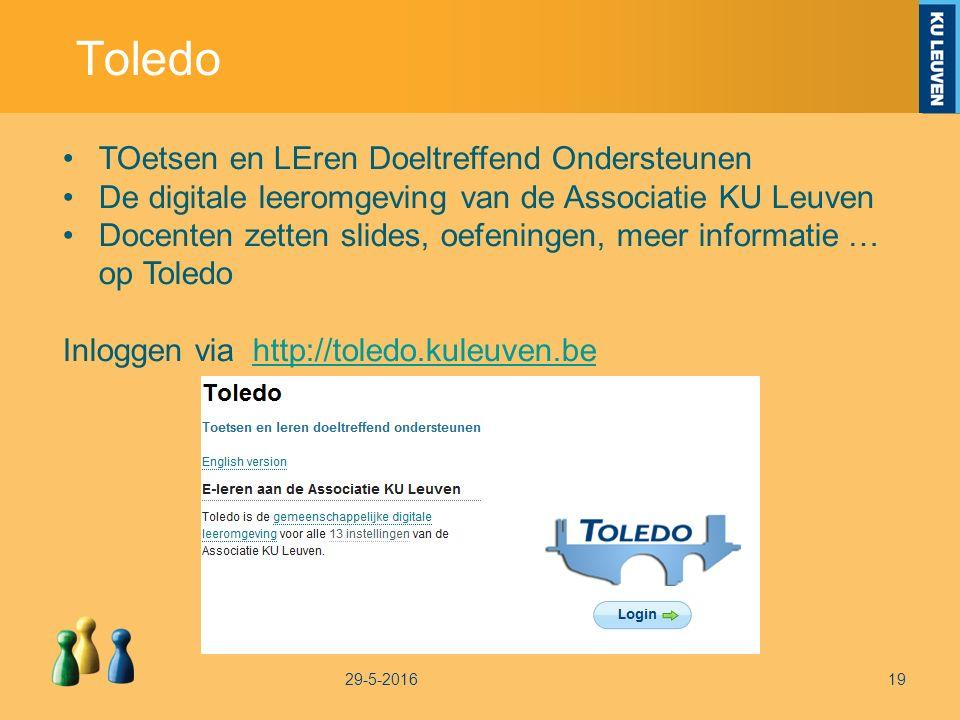 Toledo 29-5-201619 TOetsen en LEren Doeltreffend Ondersteunen De digitale leeromgeving van de Associatie KU Leuven Docenten zetten slides, oefeningen, meer informatie … op Toledo Inloggen via http://toledo.kuleuven.behttp://toledo.kuleuven.be