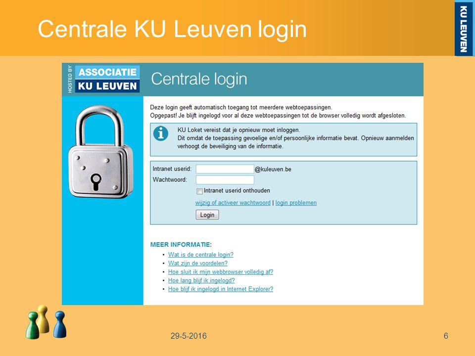 Centrale KU Leuven login 29-5-20166
