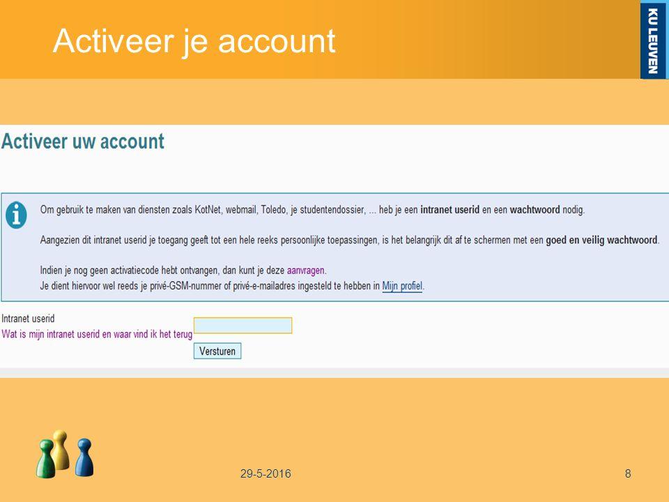 Activeer je account 29-5-20168